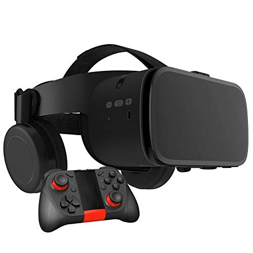 RSGK Gafas De Video VR 3D, Casco De Realidad Virtual HD con Gamepad, Gafas VR para TV, Películas Y Videojuegos Compatibles con iOS, Teléfonos Android