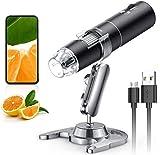 Microscopio digital WiFi, microscopio Skybasic con aumento de 50X a 1000X 1080P, microscopio digital portátil con 8 LED para Android e iOS, Windows Mac