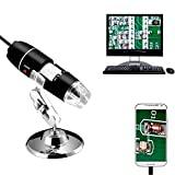 Jiusion 40 A 1000 x endoscopio, 8 LED USB 2.0 Digital Microscopio, Mini cámara con OTG adaptador y metal soporte, compatible con Mac Window 7 8 10 Android...
