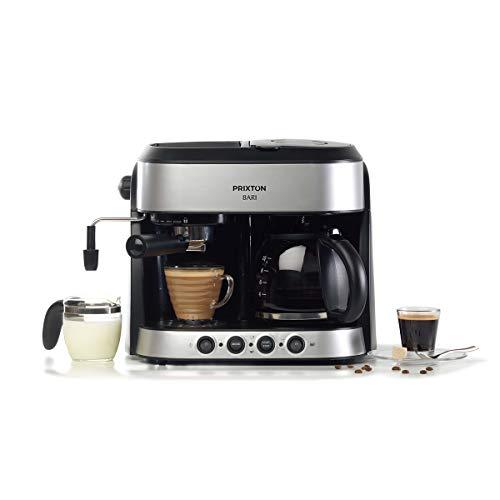 PRIXTON Bari - Cafetera Doble/Cafeteras Express 3 en 1: Espresso, Americano y Cappuccino, 15 bares de Presión, Potencia 1850 W, Doble Sistema Italiano y...
