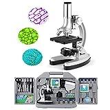 TELMU Microscopio de bolsillo para niños y principiantes, pequeño y brillante, set de accesorios de 70 piezas, 300X-600X-1200X, con iluminación LED y...
