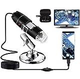 Microscopio Digital USB 40X a 1000X, Bysameyee 8 LED Cámara de endoscopio de Aumento con Estuche y Soporte de Metal, Compatible para Android Windows 7 8 10...
