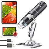Microscopio Digital WiFi,YINAMA Cámara de Microscopio de Zoom de 50x-1000x, Mini Microscopio Portátil, 8 Luces LED, 1080P 2MP, Compatible con Android, iPad,...