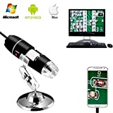 Jiusion 40 A 1000 x endoscopio, 8 LED USB 2.0 Digital Microscopio, Mini cámara con OTG adaptador y metal soporte, compatible con Mac Window 7 8 10 Android...