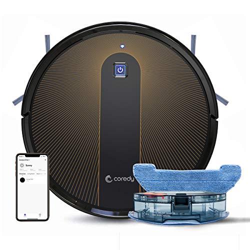 Coredy R750 Robot Aspirador y Fregasuelos 3 en 1, con conexión Wi-Fi, Alexa y Google Home, Potente aspiración de 1600Pa, Ultrafino, silencioso, Barre, aspira...