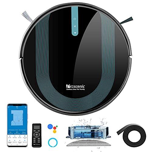 proscenic 850T Robot Aspirador y Fregasuelos, 3000Pa, Compatible con Alexa & Google Home, Muro Magnético, Depósito y Tanque 2 en 1 para Aspira, Barre, Friega...