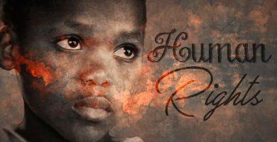 Niño africano y título de derechos humanos